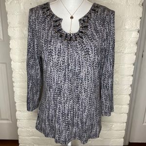 Ruby Rd. Black And Gray Embellished Blouse 5